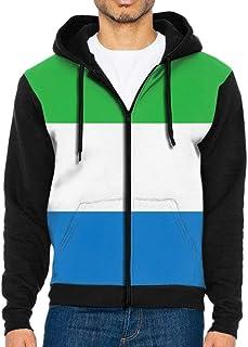 Sierra Leone Flag Mans Full-Zip Hoodies Sweatshirt Pullover Hooded Shirts Pocket Jacket