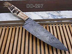 Stag Antler Scale 10 Inches Long Chef Knife Custom Made Hand Forged Damascus Steel Full Tang 5