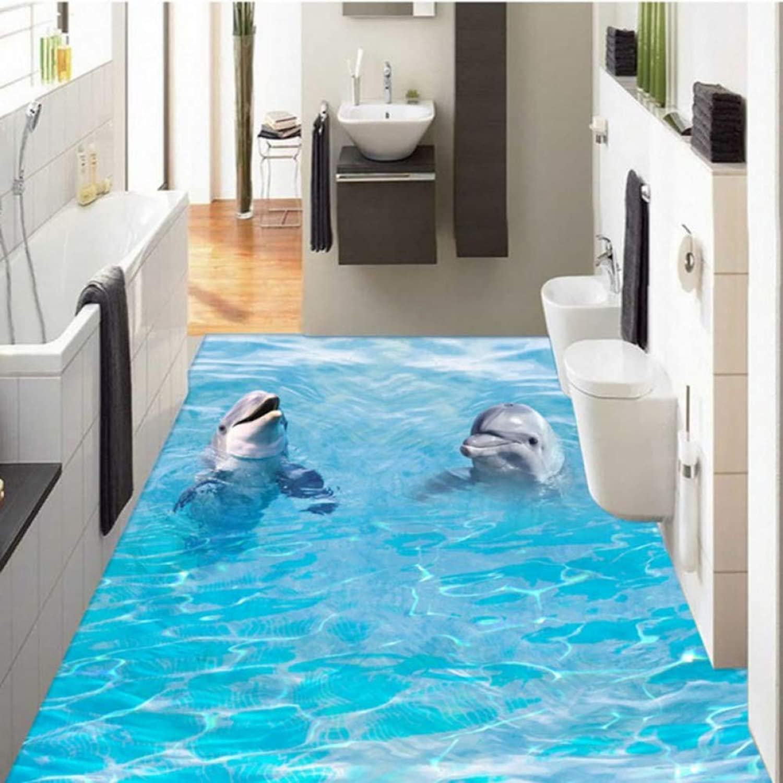 contador genuino YYBHTM Estéreo 3D Two Two Two Dolphin Ocean Autoadhesivo Cuarto De Baño Pasillo del Piso Hall Wallpaper Wallpaper Mural  Envío 100% gratuito