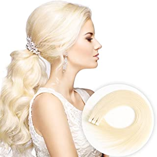 Tape in Human Hair Extensions 16 inches 20pcs 40g Silky Straight Remy Tape Hair Extensions 613 Bleach Blonde Color