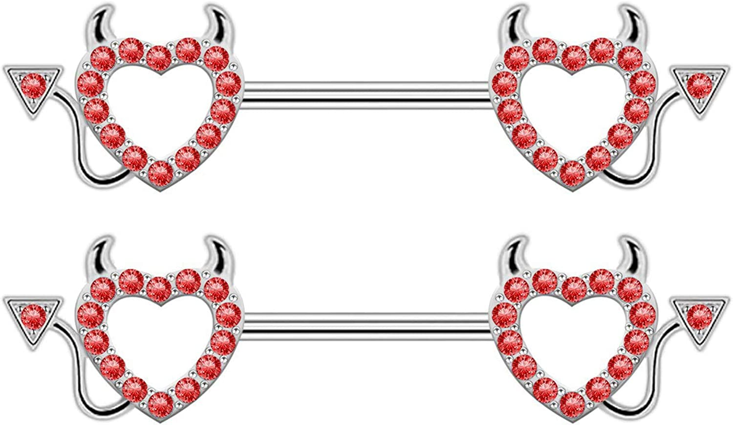 CHARMM At the price of surprise 316L Surgical Steel Barbell Devil Shape Ring Nipple 2021 spring and summer new Heart