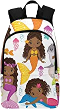 HUAPIN Set Cute Mermaids Dolphin Fur Casual Daypack Travel Bag College School Backpack for Mens and Women