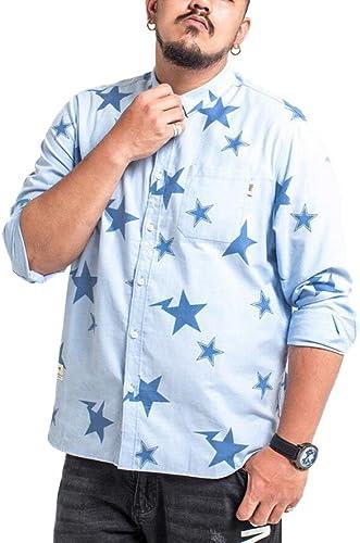 GHGJU Camisa De Los hombres Suelta La Camisa De Manga Larga Casual Impresión De Tendencia De Moda