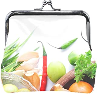 Women Dishes Vegetables Tomatoes Peppers Herbs Garlic Onion Print Wallet Exquisite Clasp Coin Purse Girls Clutch Handbag