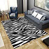 RUGYUW Alfombras Habitacion Decoración de patrón de Cebra Blanco y Negro Simple y Elegante,hogar Salon Pasillo abitacion Dormitorio sofás Felpudo Alfombra (1'8''X2'7''ft)
