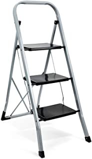 Delxo 3 Step Ladder Folding Step Stool Ladder with Handgrip Anti-Slip Sturdy and Wide Pedal 300lbs Multi-Use for Household...