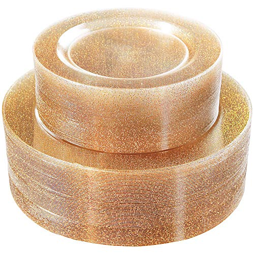WDF 120PCS Gold Plastic Plates- Disposable Gold Glitter Plates, Premium Heavy Duty 60-10.25' Dinner Plates and 60-7.5' Salad Plates for Parties &Wedding