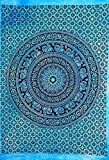 AUNERCART Turquoise Tie Dye Black and White Elephant Mandala Tapestry Indian Wall Hanging Boho Bedding Picnic Hippie Room Decorative Bohemian Beach Throw 85x55 Inch