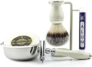 Męski zestaw do golenia z tradycyjną golarką z podwójną krawędzią, pędzel do golenia włosów z super borsukiem, stojak, mis...