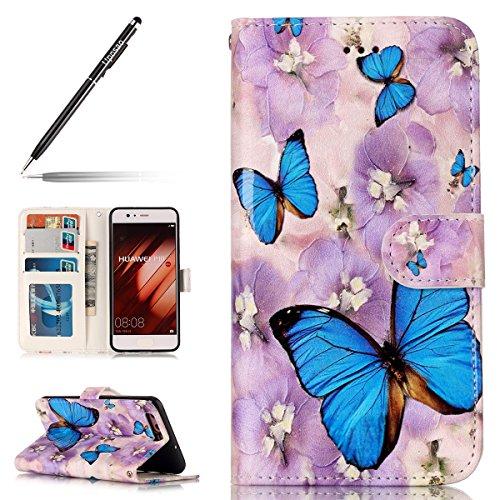 Uposao Coque Huawei P10,Housse Huawei P10, Pochette Portefeuille Cuir Coque de Protection Housse Flip Cover Case Coque à Rabat Magnétique Beau Rétro Motif 3D Coque pour Huawei P10,Papillon