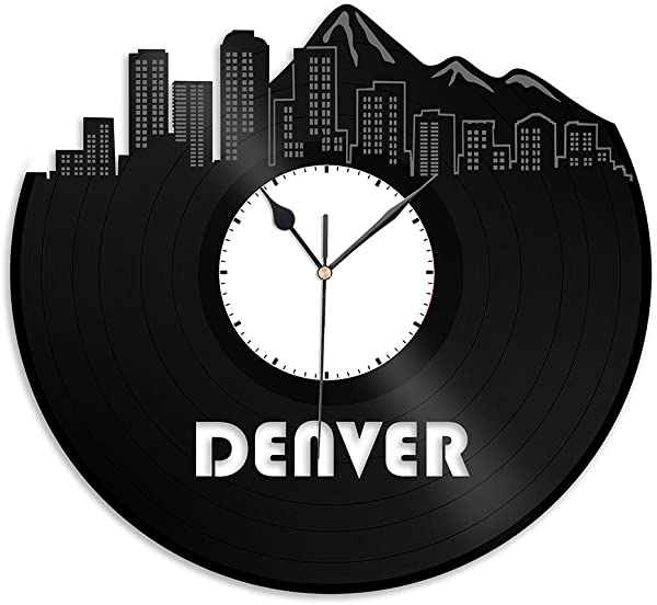 VinylShopUS Denver CO 乙烯基挂钟城市景观纪念品