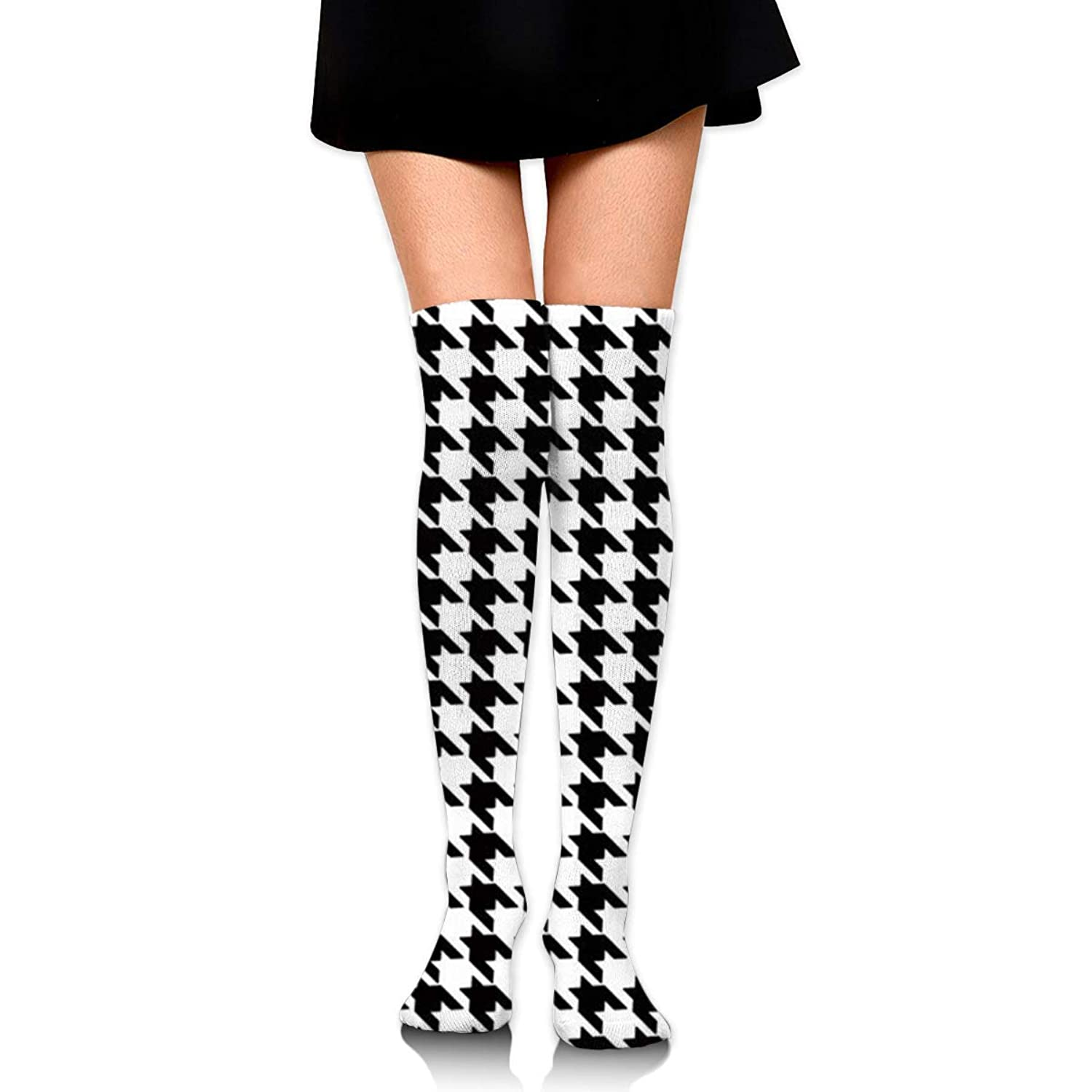 MKLOS 通気性 圧縮ソックス Breathable Knee High Leg Warmer Black and White Houndstooth Exotic Psychedelic Print Compression High Tube Thigh Boot Stockings Women Girl