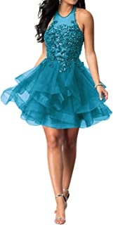 LeoGirl Women's Sparkly Lace Halter Illusion Short Prom Dress Homecoming Ruffled Ball Gown Gown