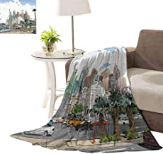 williamsdecor Print Sherpa Throw Blanket, Las Vegas Street Sketchy Pattern Design Blanket Cozy Warm for Couch Bed Sofa Blanket, 30x40 Inch