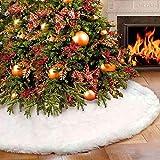 Falda para árbol de Navidad, de peluche, color blanco, redonda, con soporte para el árbol de...