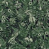 Papier peint perroquet vert | Papier peint vert foncé 37210-1 | Papier peint jungle intissé vinyle | Papier peint chambre adulte tendance