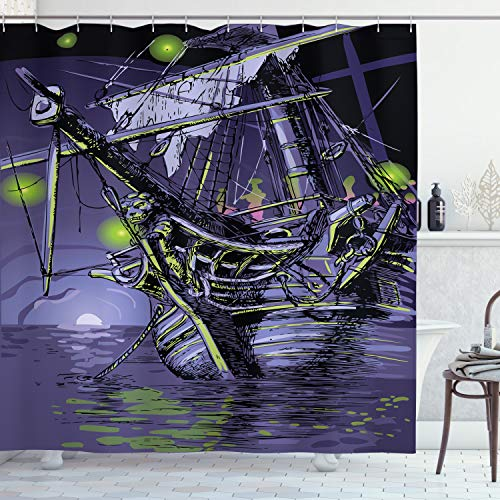 ABAKUHAUS Navire Pirate Rideau de Douche, Ghost Island Navire, Tissu Ensemble de Décor de Salle de Bain avec Crochets, 175 cm x 200 cm, Violet Lime Green