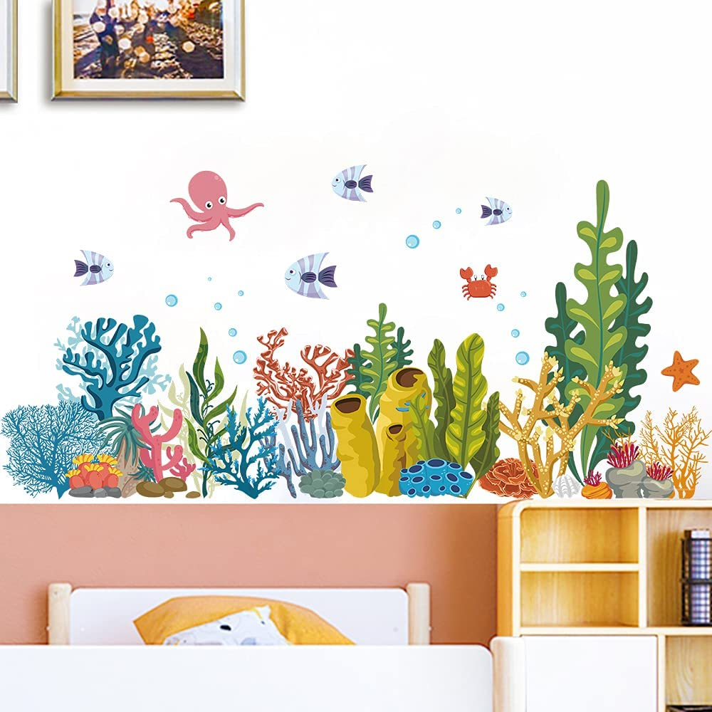 MEFOSS 3D Ocean Animals Grass Seaweed Wall Decals Underwater Marine Life Fishes Wall Stickers Peel and Stick Skirting Line Corner Wall Decor Art for Living Room Bedroom Playroom Bathroom Porch Decorations
