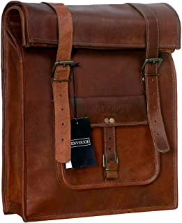 """Genuine Leather Men's Vintage Roll on Laptop Backpack 21"""" inch- Mens Casual Daypack School Bag Collage Bookbag Rucksack- Spacious Lightweight with Big zipper compartments (Brown)"""
