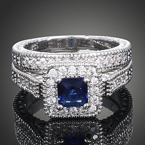HJWMM Kristallring, High-End Paarring, Zirkon-Ring, weiblicher Schmuck, blau, 16 mm
