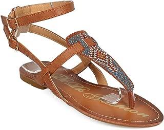 DBDK Women Boho Studded Ankle Strap Gladiator Thong Sandal ED96