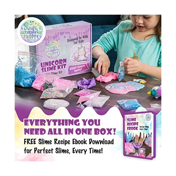 Unicorn Slime Kit for Girls - Ultimate DIY Slime Making Kit and Add Ins to Make Rainbow Unicorn Slime, Crystal Unicorn Slime, and Unicorn Poop Slime, Ages 6-12 4