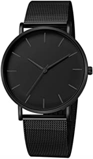 South Lane Stainless Steel Swiss-Quartz Watch with Leather Calfskin Strap, Black, 20 (Model: SS20-dr1-4197)