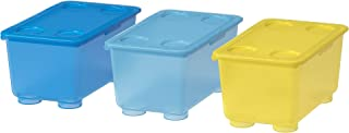 comprar comparacion Ikea Glis Caja con Tapa, Azul, Blanco y Verde, 17x10x8 cm, 3 Unidades
