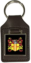 Mcarthur Family Crest Surname Coat Of Arms Brown Leather Keyring Engraved