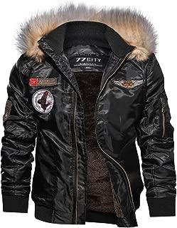 Goddessvan Men's Hooded Faux Fur Lined Casual Long Sleeve Bomber Jacket Coat