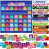 Monthly Calendar Pocket Chart with 96 Cards for Classroom Home School Supplies