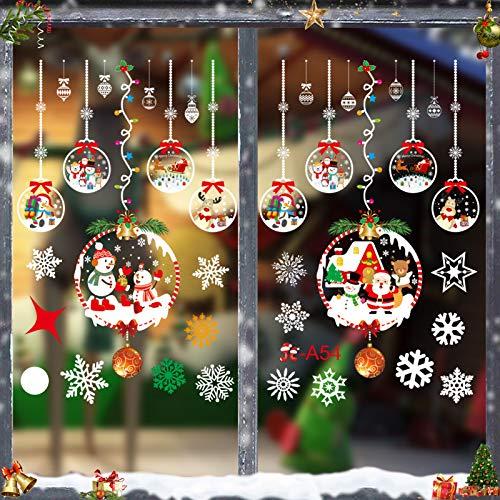 Weihnachtsdeko Fenster, Schneeflocke Fensteraufkleber, Weihnachts-Fenster Dekoration, Aufklebe Weihnachtsmann, Fensterbilder Winter, Fensterbilder, Schneeflocken Fenster,Deko Weihnachten (JC-A54)