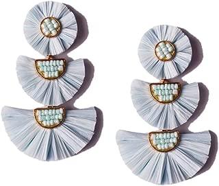 L&N Rainbery Bohemian Handmade Drop Earrings Fashion Beaded Raffia Palm Earrings for Women Tiered Dangle Statement Earrings