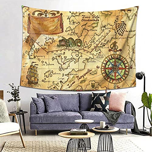 Tapiz Tapestry Wall Hanging Bedding Tapestry,Hand Drawn Illustration Of Old Pirate Map With Continents And Islands, Sailing Ship,Beach Throw Tapestry Table Cover Curtain Home Decoration Wall Art
