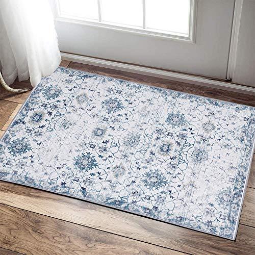 """jinchan Vintage Floral Blue Area Rug Doormat Floorcover Indoor Mat Kitchen Living Room Bedroom 2'x 3'3"""""""