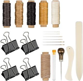 DaKuan Lot de 20 outils de reliure en os, plioir en fil de lin ciré avec manche en bois, aiguilles à chas large, pinces po...