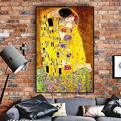wZUN Gustav Klimt Kiss réplica Pintura al óleo Lienzo Arte Carteles escandinavos e Impresiones Mural para Sala de Estar 50x70cm