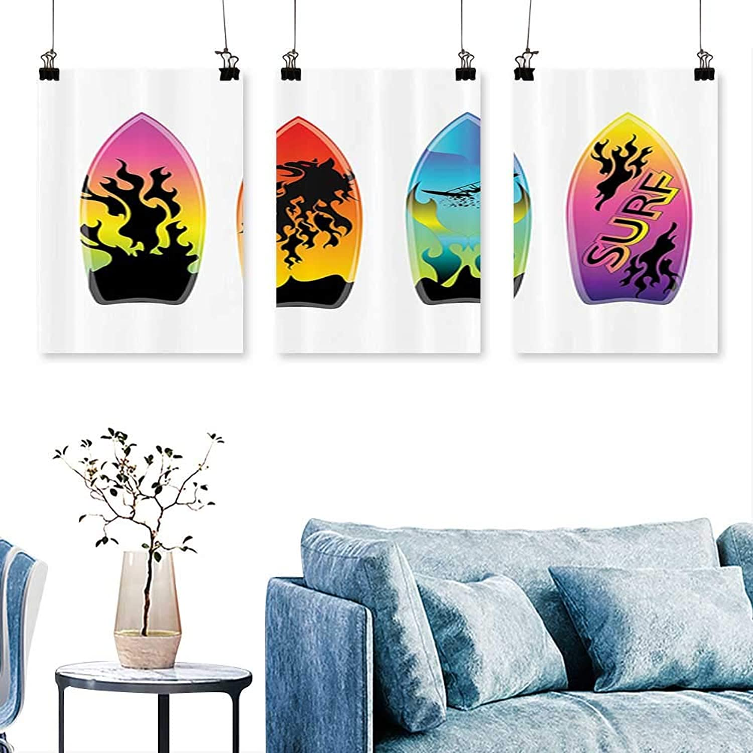 SCOCICI1588 3 Panels Triptych urfboard Undulate Windsurf Youth Culture Freedom California Ocean Sand Time for Home Modern Decoration No Frame 30 INCH X 60 INCH X 3PCS