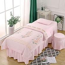Beauty Salon Bed Skirt Bedspread,Pure Cotton Mattress Cover Four-Piece Suit Simplicity Thicken Beauty Salon Massage Bedspr...