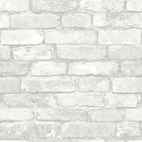NuWallpaper NU3010 Grey and White Brick Peel & Stick Wallpaper