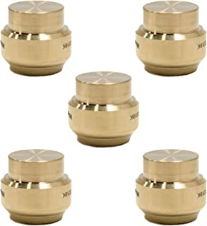 (Pack of 5) EFIELD Höger 1/2 Inch Plug End Cap Push-Fit Fitting to Connect Pex, Copper, CPVC, No-Lead Brass 5 Pieces