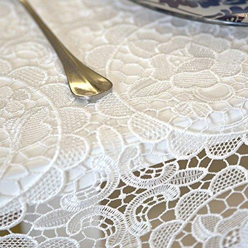 Aich Blanco Encaje Paños de Mesa,Crochet Manteles Bordado Rectángulo Europeo Vendimia Cubierta de la Tabla Flor Flores para la Tabla de Extremo Comedor-Blanco 150x210cm(59x83inch)