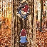 Gartenzwerge Figur Gartendeko Figuren für Außen groß Gartenstatuen Resin Craft Cartoon Zwerg Klettern Baum Skulptur Garten Hängende Ornamente