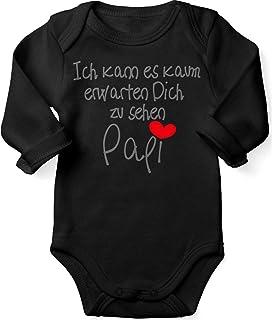 Mikalino Babybody mit Spruch für Jungen Mädchen Unisex Langarm Ich kann es kaum erwarten Dich zu sehen Papi | handbedruckt in Deutschland | Handmade with Love