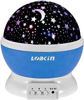 LOBKIN 360 grados de rotación 3 Modo de luz del proyector de la estrella romántica Cosmos Luna del cielo de la lámpara de proyección de luz nocturna dormitorio para niños, regalos de la Navidad