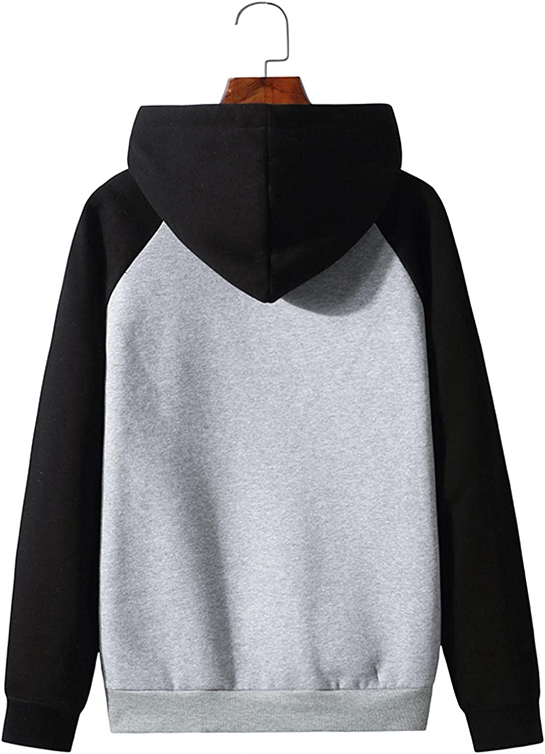 Men's Hoodie Stitching Color Athletic Sweatshirt Long Sleeve Pockets Drawstring Pullover Tops Hooded Hoodies Fall Coats