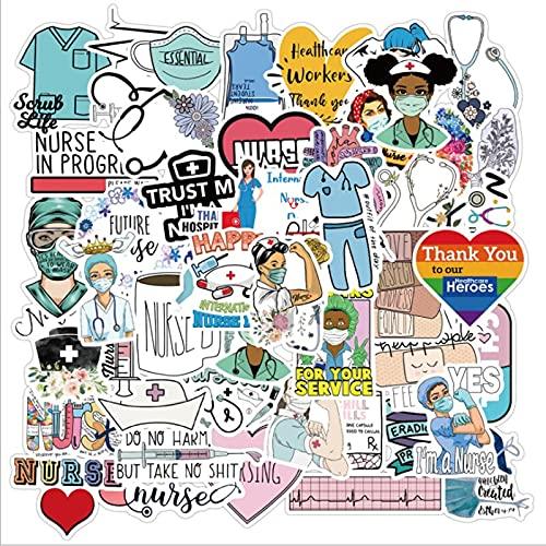 LSPLSP International Nurse'S Day Graffiti Impermeabile Skateboard Viaggio Valigia Del Telefono Mobile Bagagli Adesivi Carino Bambini Ragazza Giocattoli 50 Pz