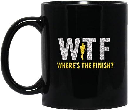 Womens Womens Funny Cardio Running Where's the Finish Line Workout 11 oz. Black Mug
