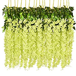 Artificial Fake Wisteria Vine Ratta Hanging Garland Silk Flowers String Home Party Wedding Decor
