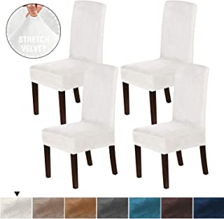 H.VERSAILTEX 4PCS Real Velvet Dining Room Chair Slipcovers Super Stretch Spill Resistant Removable Washable Anti-Dust High Dining Chair Protectors Slipcovers Dining Chair Covers(Ivory)